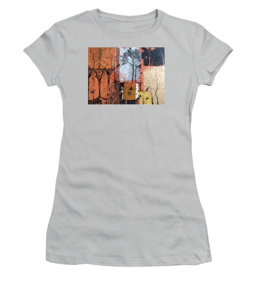 Women's T-Shirt (Junior Cut) featuring the mixed media Into The Woods by Pat Purdy