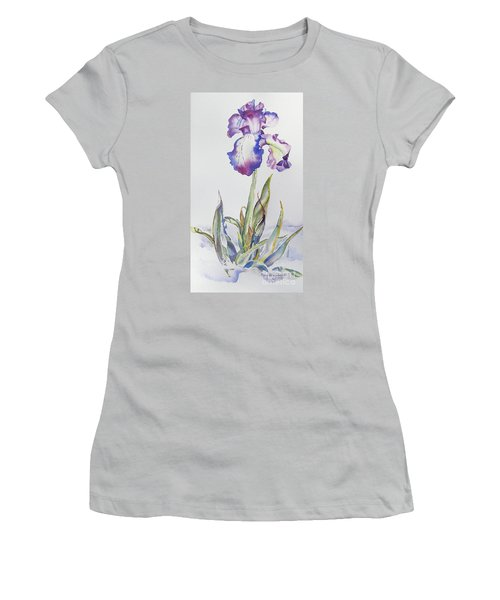 Women's T-Shirt (Junior Cut) featuring the painting Iris Passion by Mary Haley-Rocks