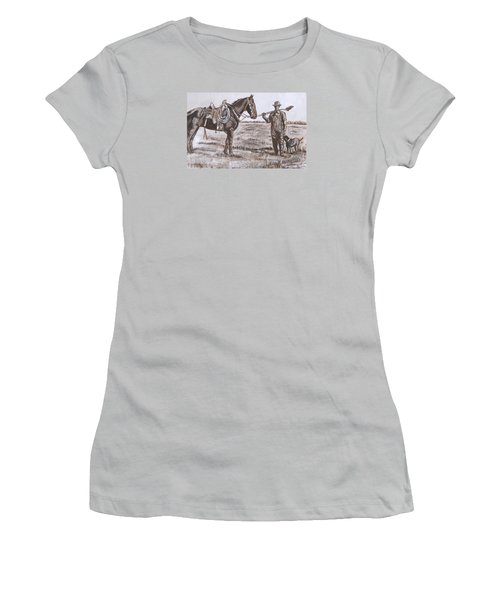 Women's T-Shirt (Junior Cut) featuring the painting Irrigating The Hay Meadows Historical Vignette by Dawn Senior-Trask