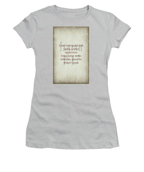 Isaiah 1 17 Women's T-Shirt (Athletic Fit)
