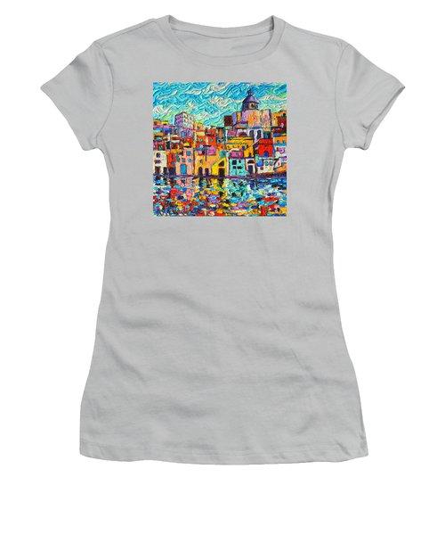 Italy Procida Island Marina Corricella Naples Bay Palette Knife Oil Painting By Ana Maria Edulescu Women's T-Shirt (Junior Cut) by Ana Maria Edulescu