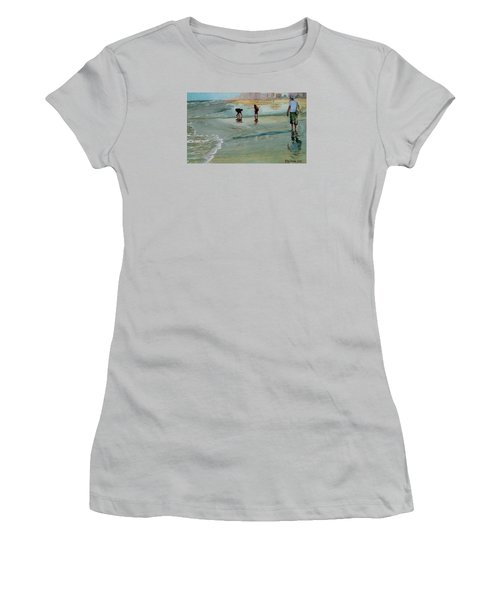 Women's T-Shirt (Junior Cut) featuring the painting Jacksonville Shell Hunt by Jeffrey S Perrine