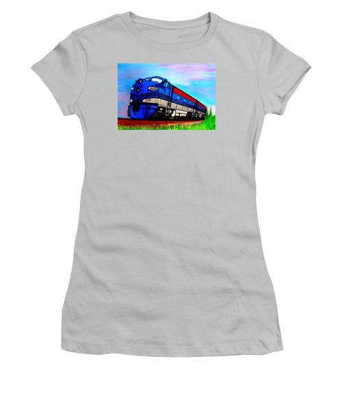 Women's T-Shirt (Junior Cut) featuring the painting Jacob The Train by Pjohn Artman