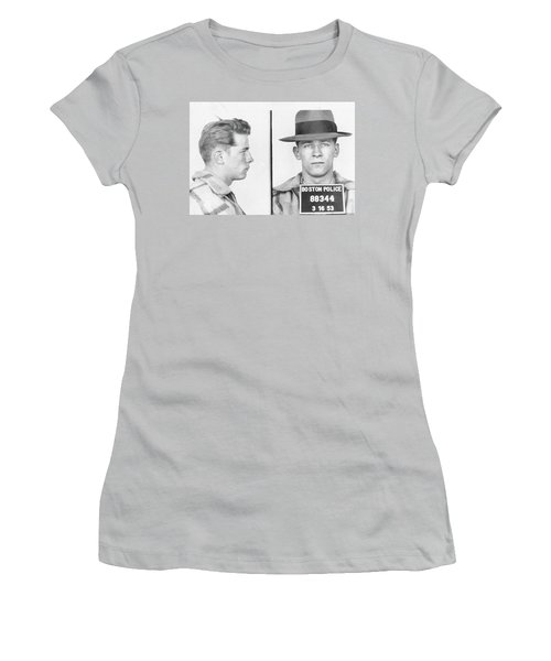 Women's T-Shirt (Junior Cut) featuring the mixed media James Whitey Bulger Mug Shot by Dan Sproul