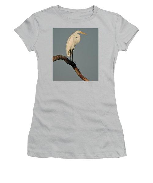 January Egret Women's T-Shirt (Junior Cut) by Peg Toliver