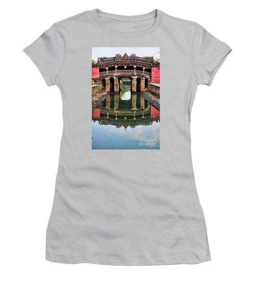 Japanese Bridge  Hoi An Women's T-Shirt (Junior Cut) by Chuck Kuhn