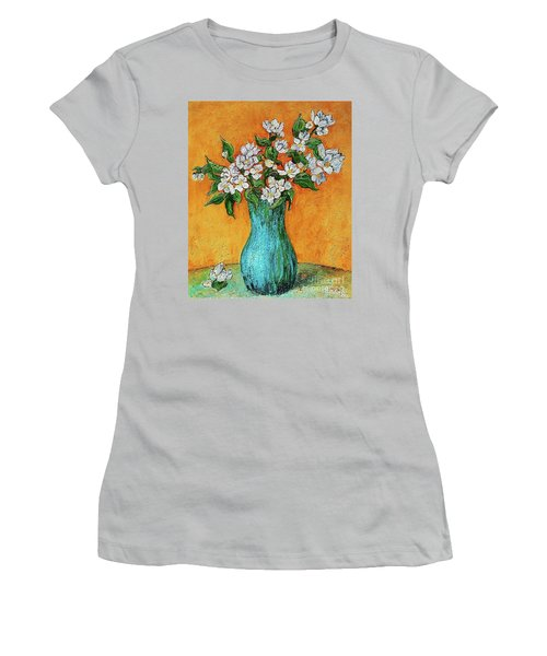 Jasmine Flowers In A Blue Pot Women's T-Shirt (Athletic Fit)