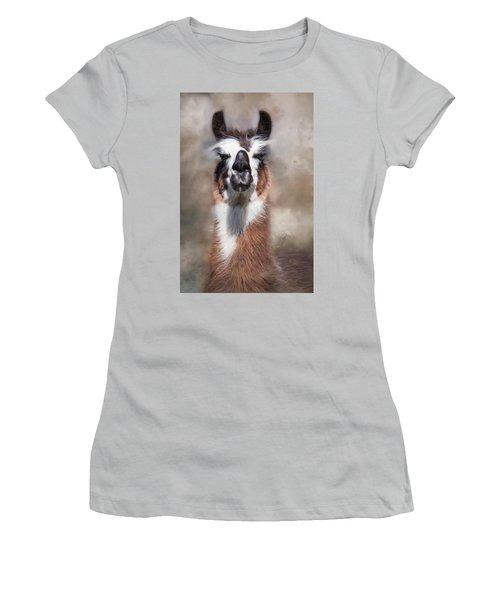 Women's T-Shirt (Junior Cut) featuring the photograph Jolly Llama by Robin-Lee Vieira