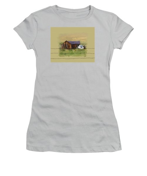 Women's T-Shirt (Junior Cut) featuring the painting Junk Truck by Susan Kinney