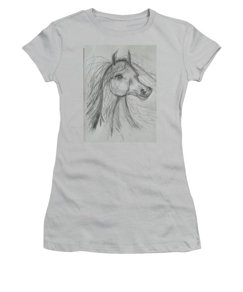 Women's T-Shirt (Junior Cut) featuring the drawing Just Free by Sharyn Winters
