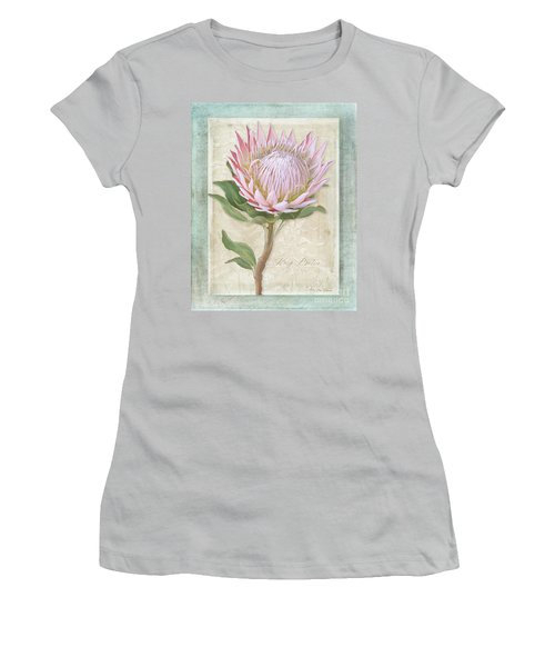 Women's T-Shirt (Athletic Fit) featuring the painting King Protea Blossom - Vintage Style Botanical Floral 1 by Audrey Jeanne Roberts