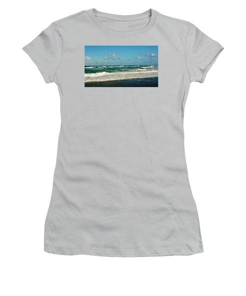 Kite Surfing Women's T-Shirt (Junior Cut) by John Wartman