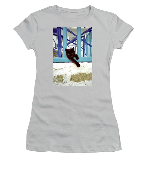 Kitten With Blue Rail Women's T-Shirt (Athletic Fit)