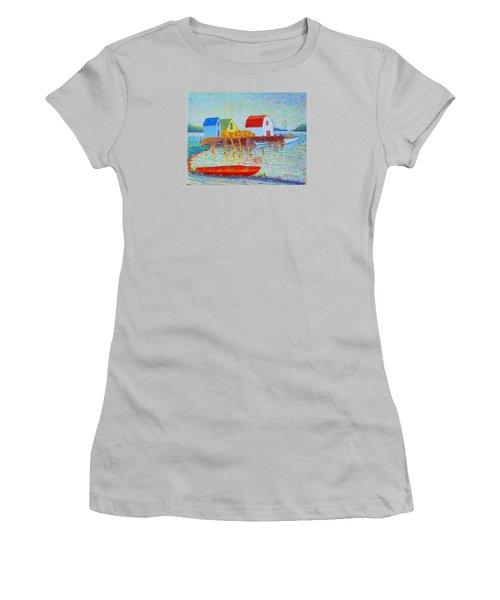 Kyak At Blue Rocks Women's T-Shirt (Junior Cut) by Rae  Smith