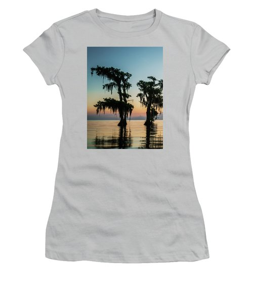 Lake Maurepas Sunrise Triptych No 3 Women's T-Shirt (Junior Cut) by Andy Crawford