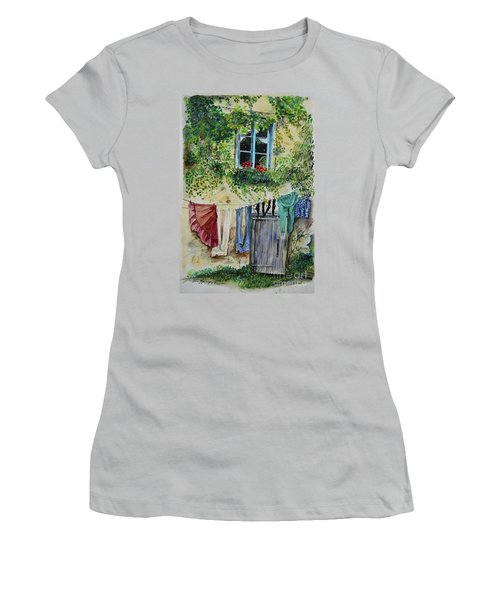 Women's T-Shirt (Athletic Fit) featuring the painting Laundry Day In France by Jan Dappen