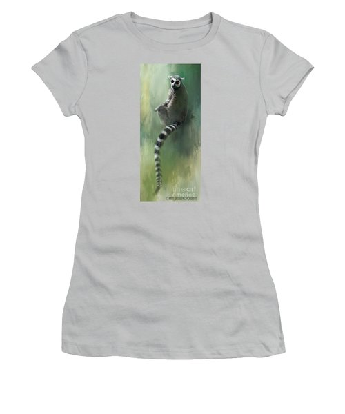 Lemur Catching Rays Women's T-Shirt (Junior Cut) by Kathy Russell
