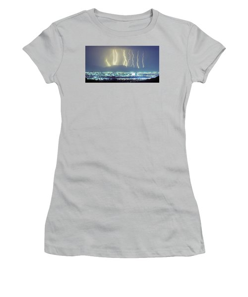 Women's T-Shirt (Athletic Fit) featuring the photograph Lightning Over Phoenix Arizona Panorama by James BO Insogna