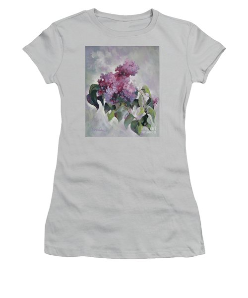 Women's T-Shirt (Junior Cut) featuring the painting Lilac by Elena Oleniuc