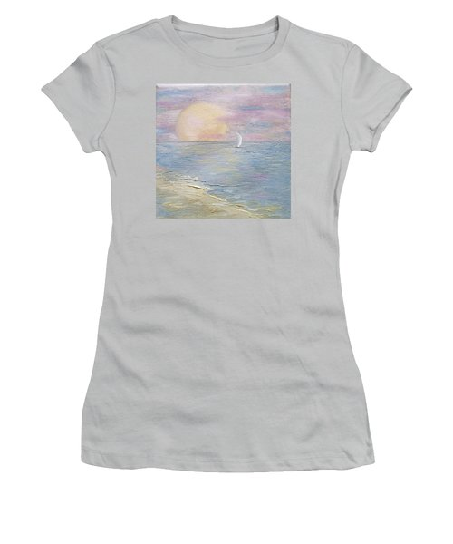 Women's T-Shirt (Athletic Fit) featuring the painting Lingering Freedom by Judith Rhue