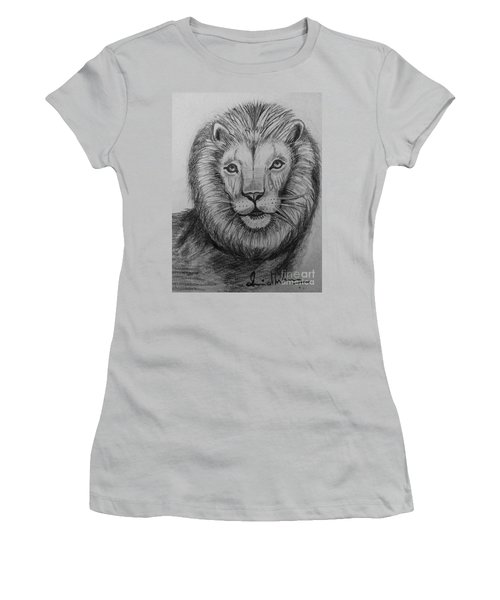 Women's T-Shirt (Junior Cut) featuring the painting Lion by Brindha Naveen