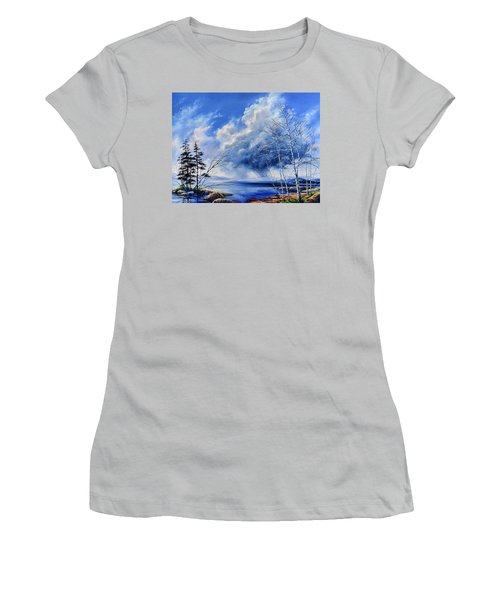 Women's T-Shirt (Athletic Fit) featuring the painting Listen To The Rhythm by Hanne Lore Koehler