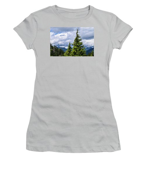 Lone Fir With Clouds Women's T-Shirt (Athletic Fit)
