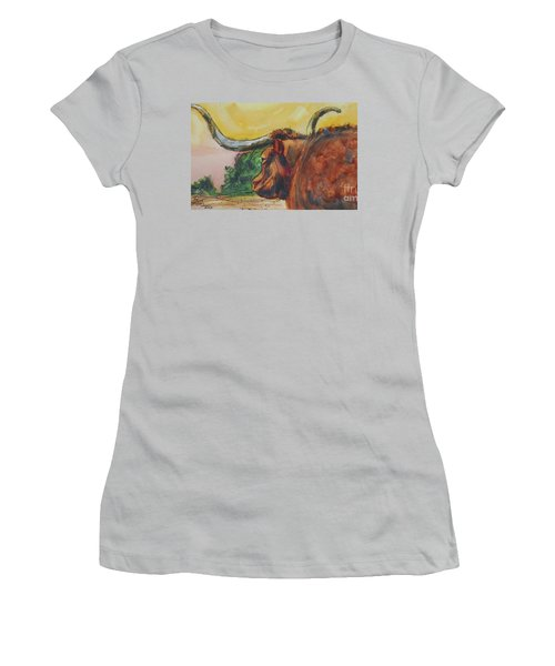 Lonesome Longhorn Women's T-Shirt (Junior Cut) by Ron Stephens