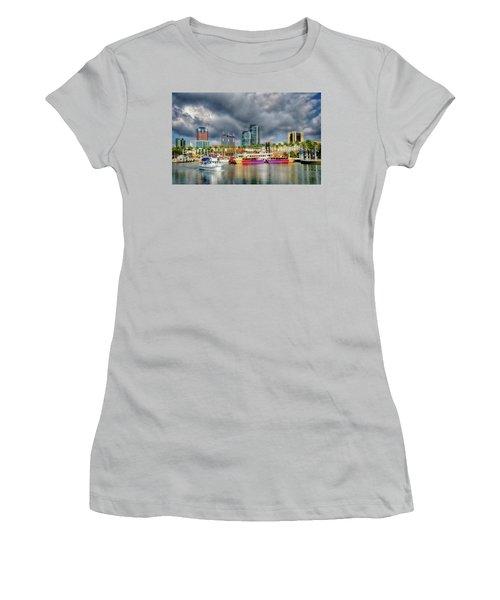 Long Beach Shoreline Marina Women's T-Shirt (Junior Cut) by Joseph Hollingsworth