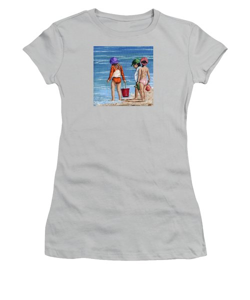 Looking For Seashells Children On The Beach Figurative Original Painting Women's T-Shirt (Junior Cut) by Linda Apple