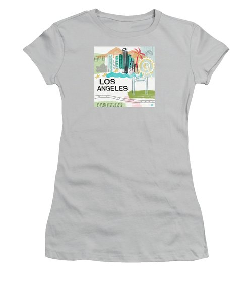 Los Angeles Cityscape- Art By Linda Woods Women's T-Shirt (Athletic Fit)