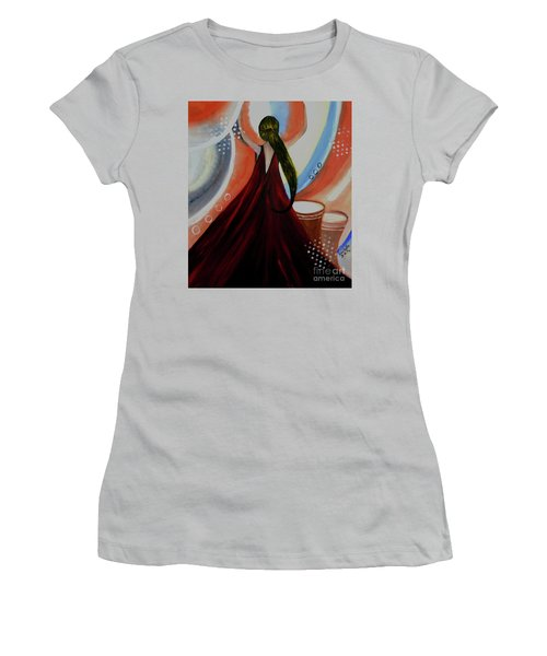 Love To Dance Abstract Acrylic Painting By Saribelleinspirationalart Women's T-Shirt (Athletic Fit)