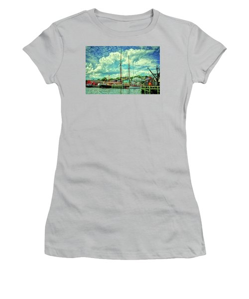 Women's T-Shirt (Athletic Fit) featuring the photograph Lunenburg Harbor by Rodney Campbell