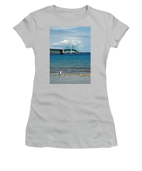 Women's T-Shirt (Junior Cut) featuring the photograph Mackinac Bridge With Seagull by LeeAnn McLaneGoetz McLaneGoetzStudioLLCcom