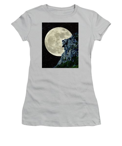Women's T-Shirt (Junior Cut) featuring the photograph Man In The Moon Meets Old Man Of The Mountain Vertical by Larry Landolfi