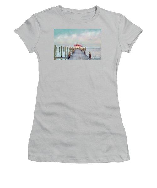 Manteo Lighthouse Women's T-Shirt (Junior Cut) by Marion Johnson