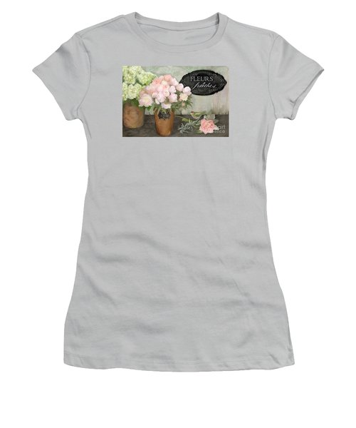 Women's T-Shirt (Athletic Fit) featuring the painting Marche Aux Fleurs 2 - Peonies N Hydrangeas W Bird by Audrey Jeanne Roberts