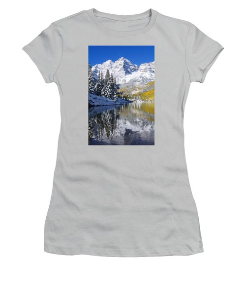 Maroon Lake And Bells 2 Women's T-Shirt (Athletic Fit)