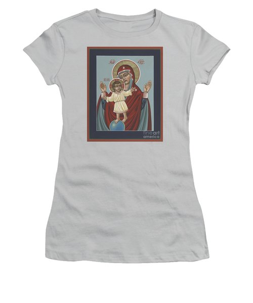 Women's T-Shirt (Athletic Fit) featuring the painting Mary, Mother Of Mercy - Dedicated To Pope Francis In This Year Of Mercy 289 by William Hart McNichols