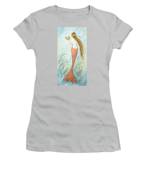 Mermaid And Her Catfish, Goldie Women's T-Shirt (Junior Cut) by Tina Obrien