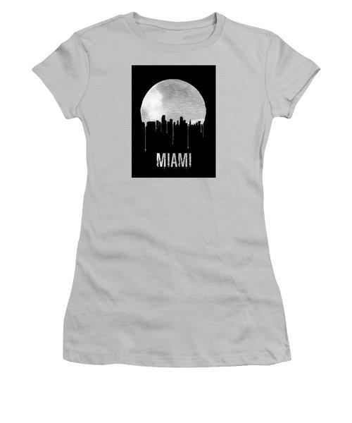 Miami Skyline Black Women's T-Shirt (Junior Cut) by Naxart Studio