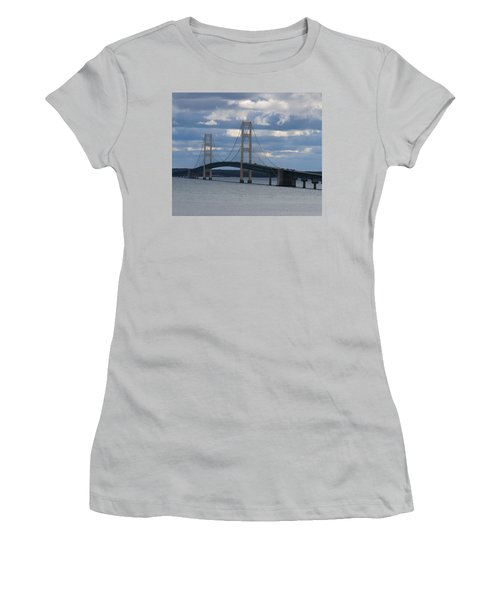 Mighty Mac The Mackinac Bridge Women's T-Shirt (Athletic Fit)