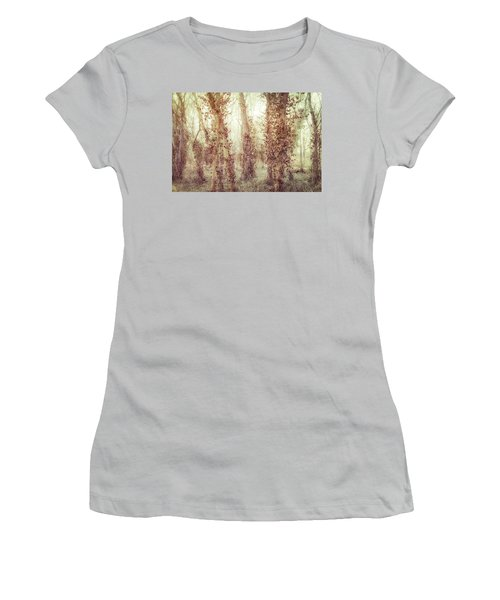 Misty Morning Winter Forest  Women's T-Shirt (Junior Cut) by Robert FERD Frank