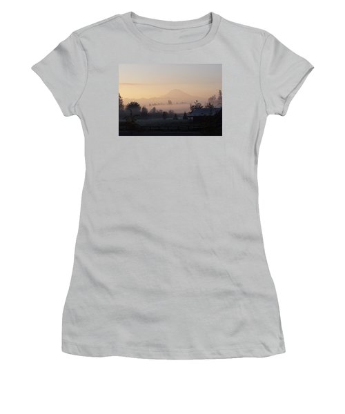 Misty Mt. Rainier Sunrise Women's T-Shirt (Athletic Fit)