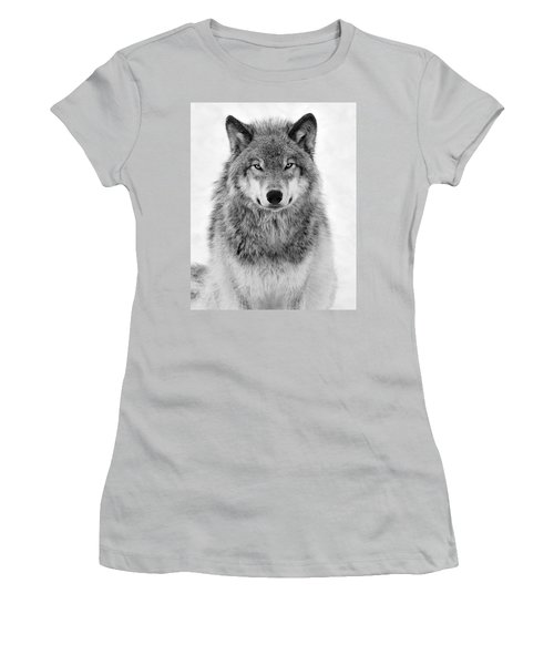 Monotone Timber Wolf  Women's T-Shirt (Junior Cut) by Tony Beck
