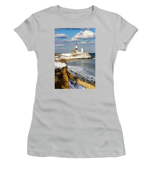 Montauk Lighthouse Winter Bluffs Women's T-Shirt (Athletic Fit)
