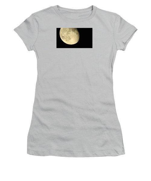 Women's T-Shirt (Junior Cut) featuring the photograph Moon And Plane Over Sanibel by Melinda Saminski