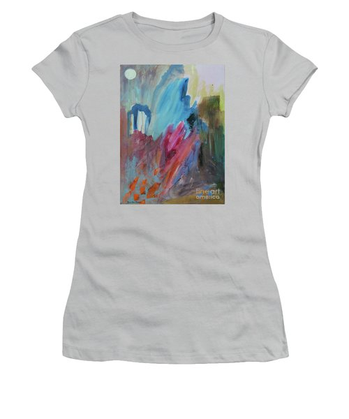 Women's T-Shirt (Athletic Fit) featuring the painting Moonchaser by Robin Maria Pedrero