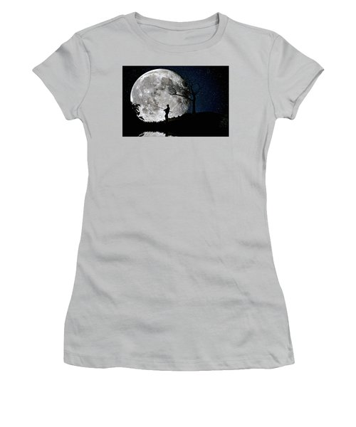 Moonlight Fishing Under The Supermoon At Night Women's T-Shirt (Junior Cut) by Justin Kelefas