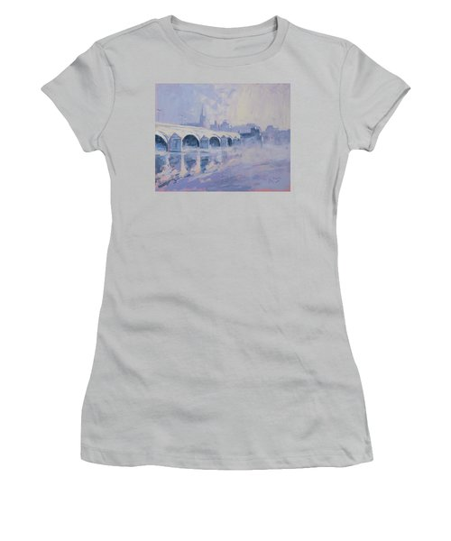 Morning Fog Around The Old Bridge Women's T-Shirt (Athletic Fit)